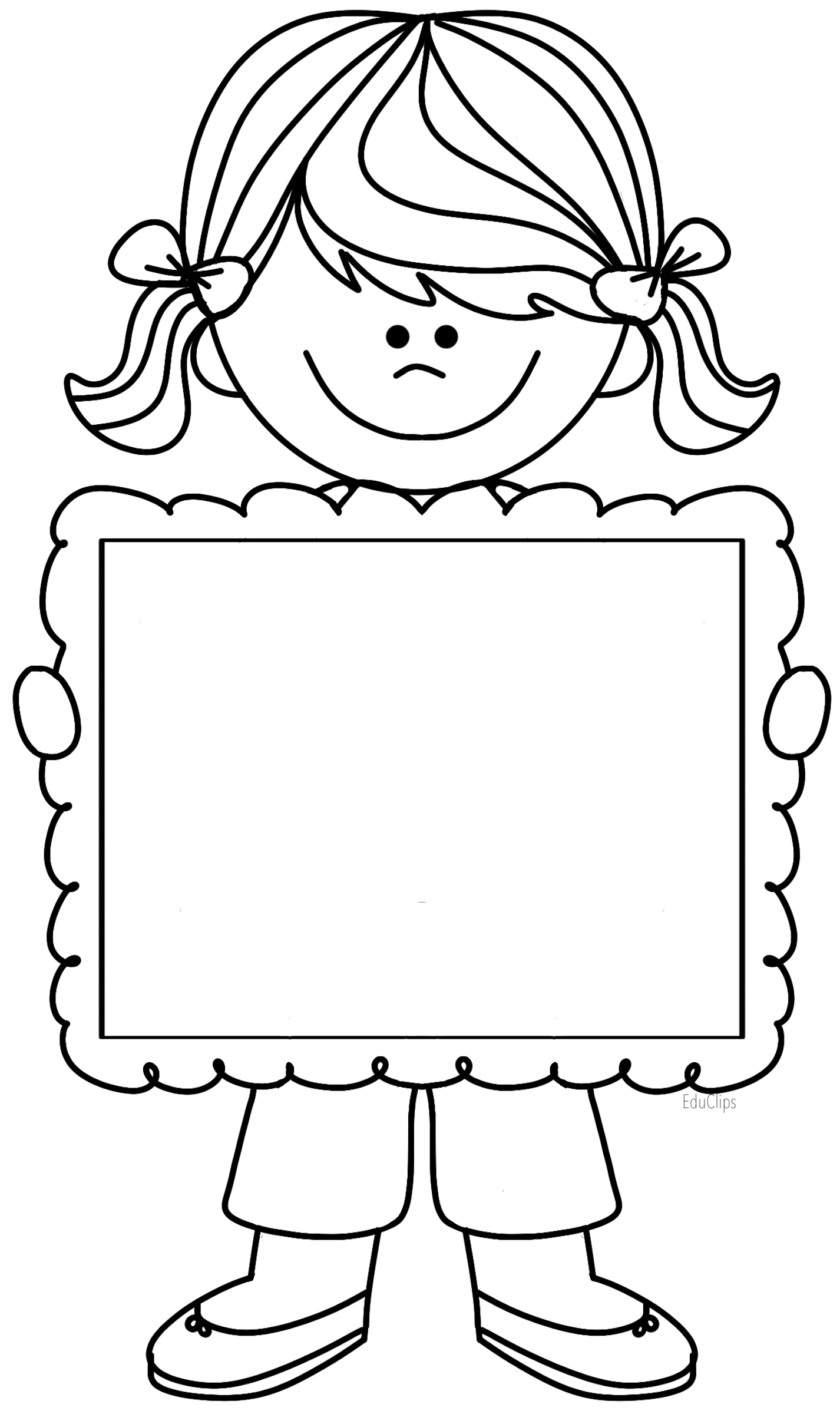 Cute girl clipart holding frame, there's space to write