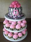 Pink and Black Zebra Birthday Cake