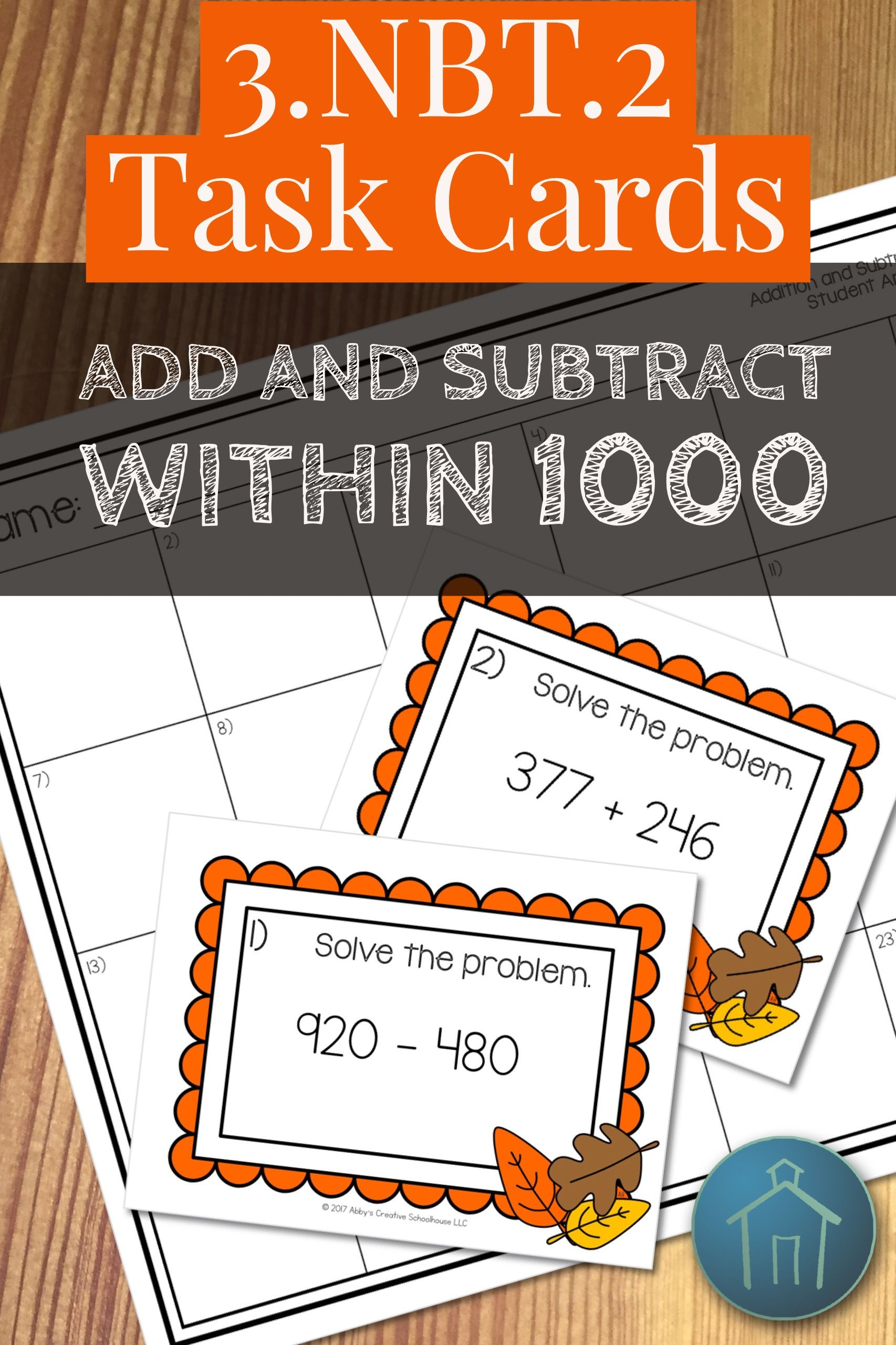 3 Nbt 2 Task Cards Adding And Subtracting Within