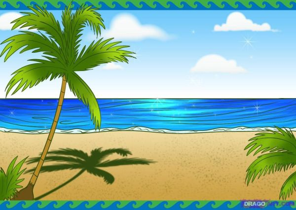 beach scenes How to Draw a Beach Scene Step by Step