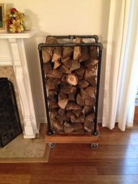 Fireplace Wood Rack (recycled pallets and some black pipe ...