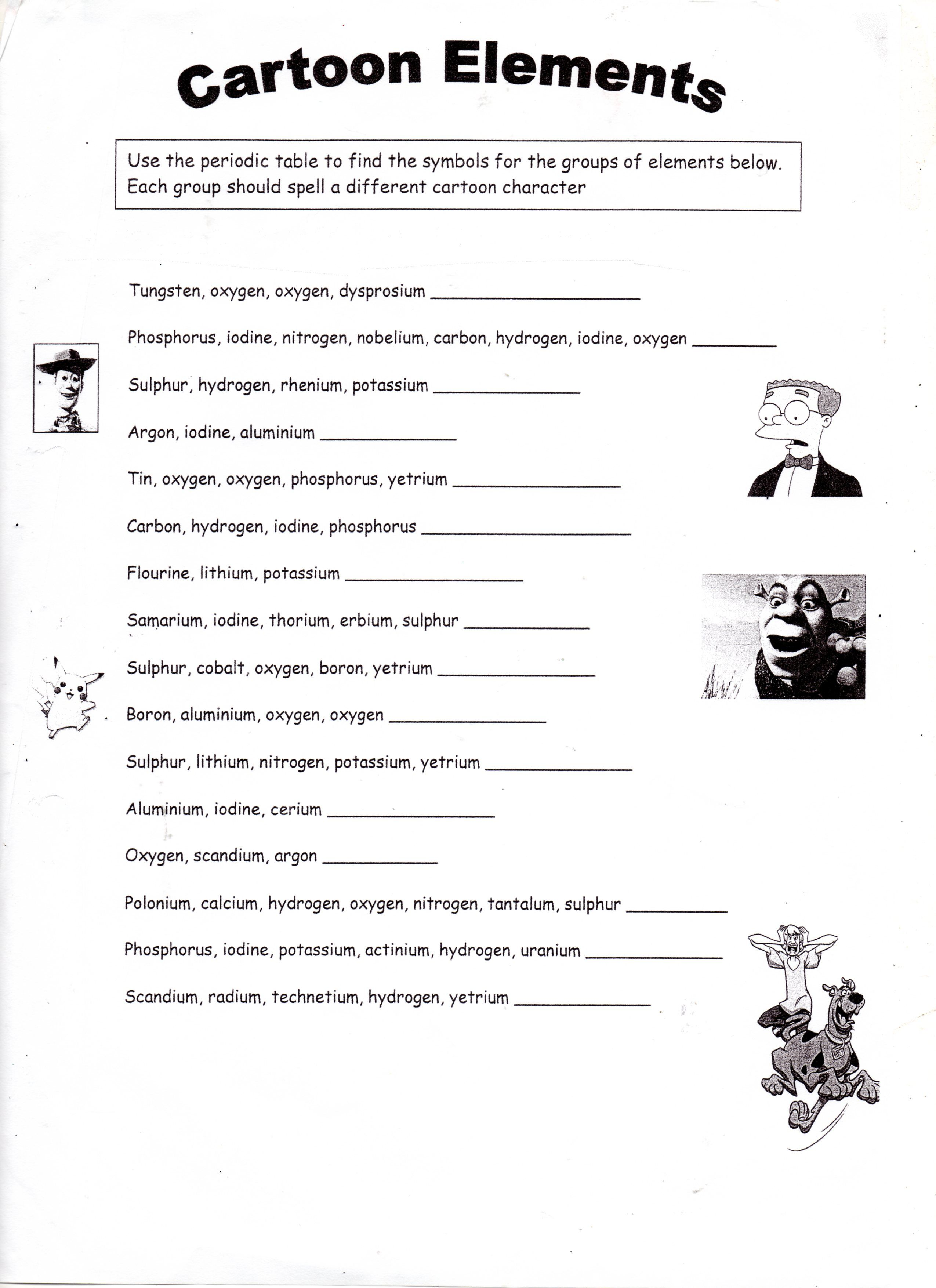 Cartoon Elements Worksheet