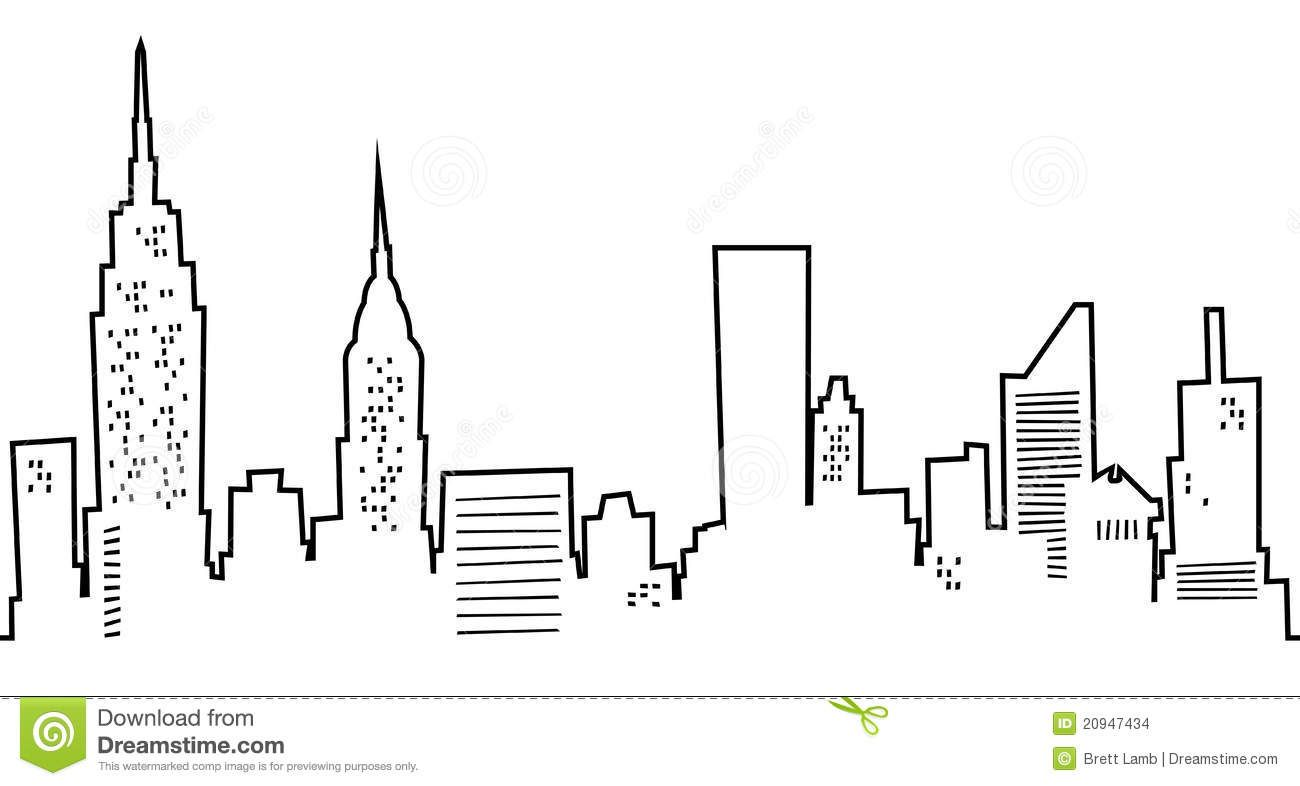 Cartoon Manhattan Skyline