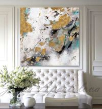 Gold Leaf Painting, Black White Gold Art, Abstract Print ...