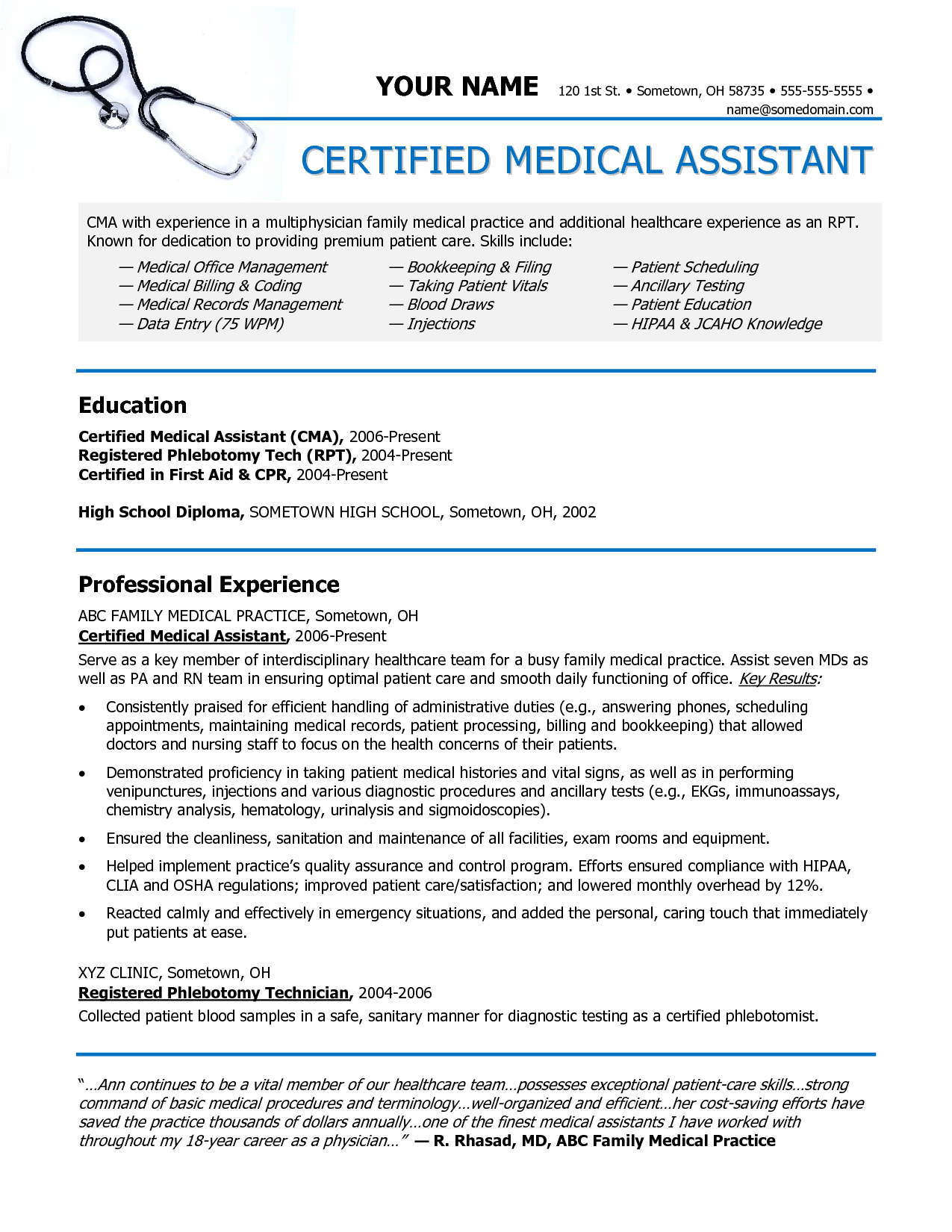 Resume Objective For Medical Billing Medical Assistant Resume Entry Level Examples 18 Medical