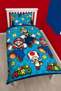 NINTENDO SUPER MARIO BROS GAMES SINGLE DUVET QUILT COVER ...