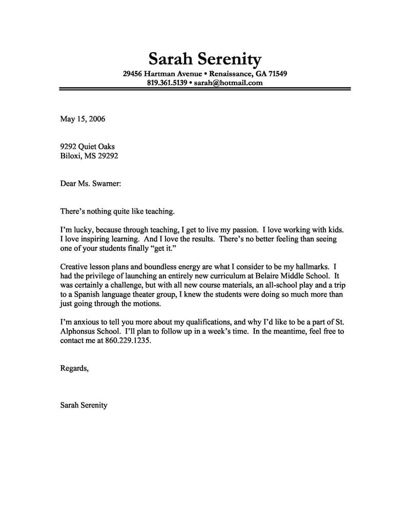 An Example Of A Cover Letter For A Resume