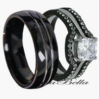 His Tungsten & Hers Black Stainless Steel 4 Pc Wedding ...