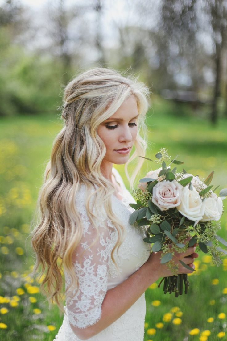 wedding hair down with veil