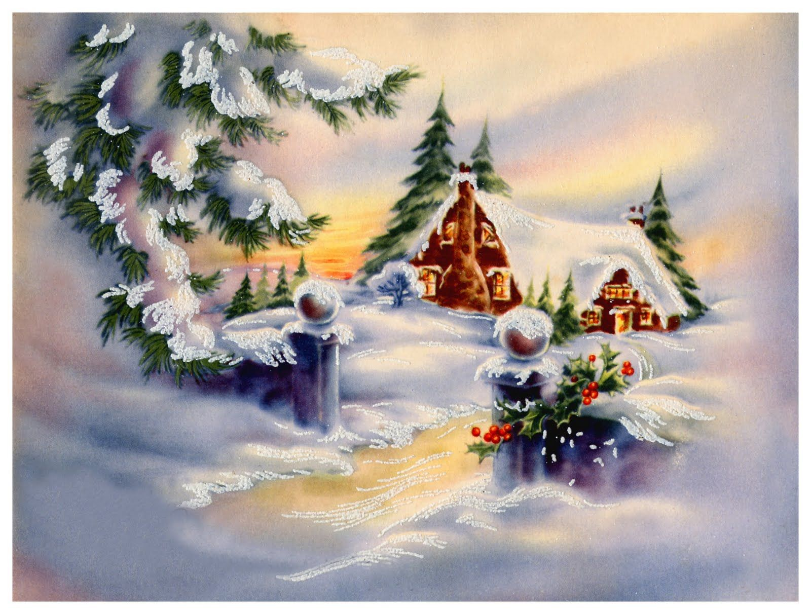 Lighted Christmas Country Art