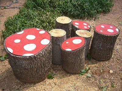 Alice In Wonderland Garden Ideas; Garden Toad Stools For The