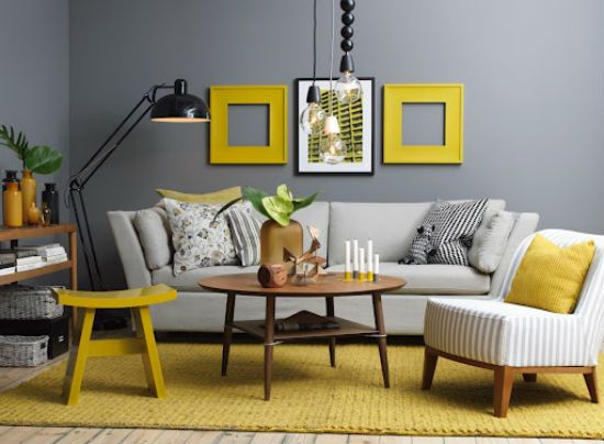 Gorgeous living room inspiration yellow grey  navy also oh my daze rh pinterest