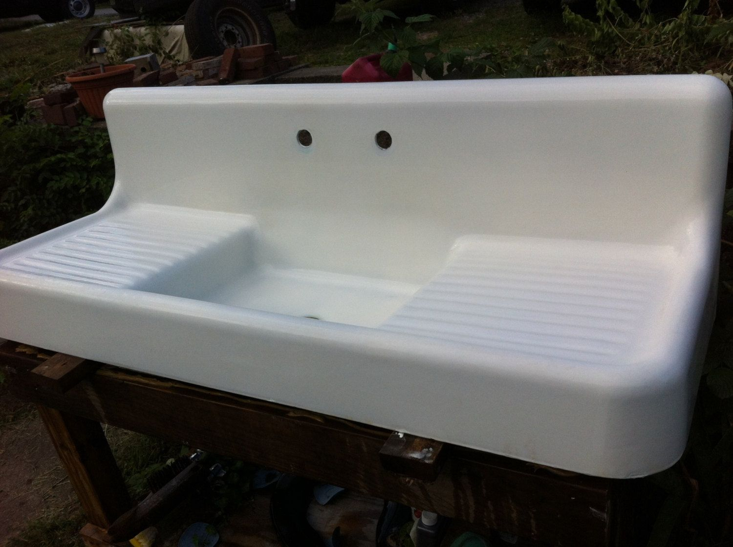 antique kitchen sinks sink with cutting board double drainboard highback apron farm vintage