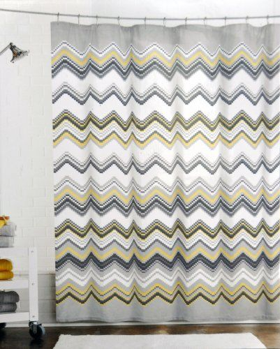 Max Studio Fabric Shower Curtain Chevron Pattern Black Gray Yellow