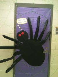 Classroom door decoration for Halloween (spider) | October ...