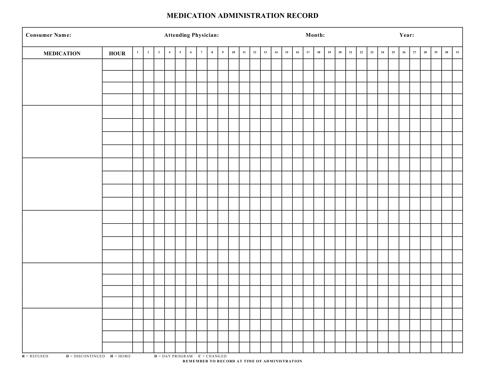 Home Medication Chart Template Blank Medication