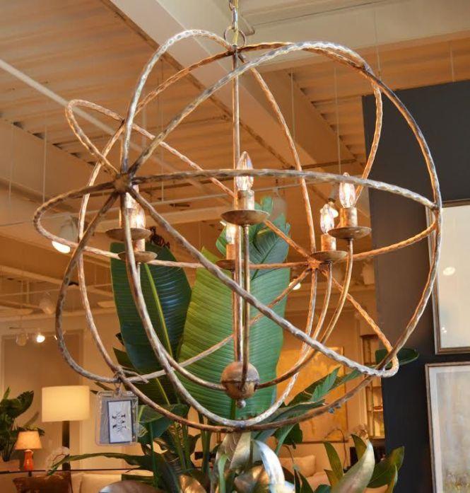 Six Light Iron Orbital Chandelier In Antiqued Gold Finish