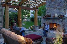 Backyard Fireplace With Mantel. Arched Pergola. Make