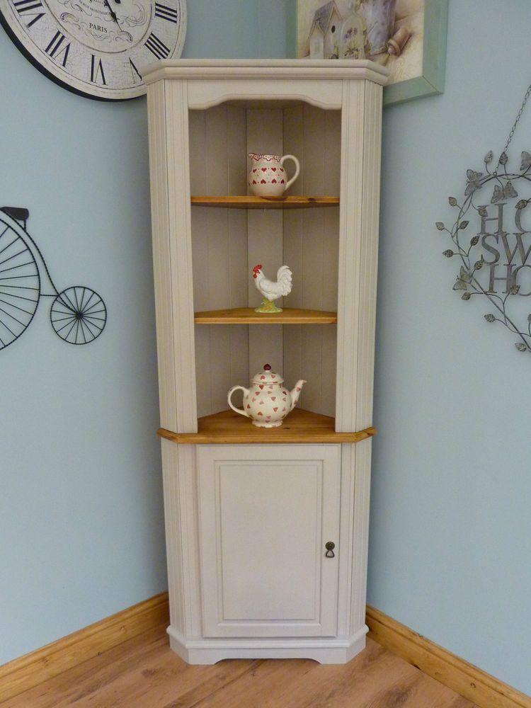Beautiful Painted Shabby Chic Pine Corner Unit Storage Shelves Cabinet Dresser  Corner unit