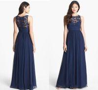 Navy Blue Chiffon Long Bridesmaid Dresses Lace 2018 Floor ...
