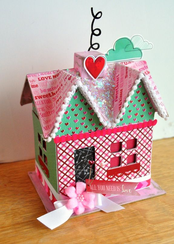 DIY Valentine's Day Paper Mache House Decoupage Craft And House