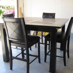 Pub Style Table And Chair Set Folding Holder Black Distressed Dining Furniture