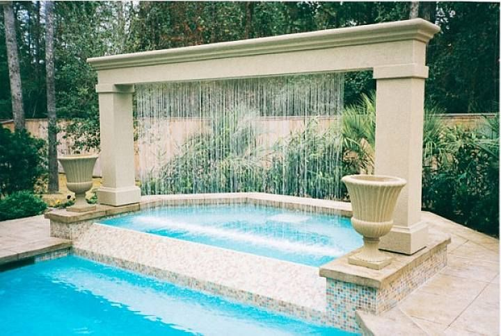 Contemporary Outdoor Water Fountain Ideas In Outdoor Swimming Pool