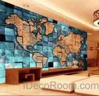 3D Blue Ocean Abstract World Map Wallpaper Wall Decals ...