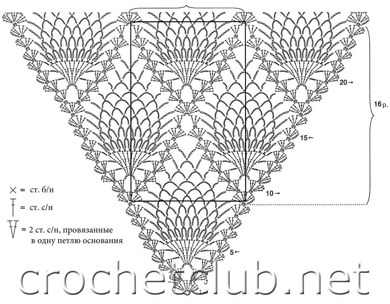 схема вязания крючком ананас платок: 13 тыс изображений