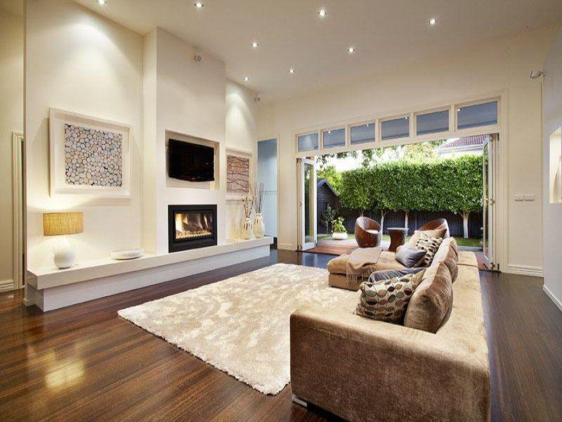Comfortable Family Room Renovation Design With Light Brown Sofa