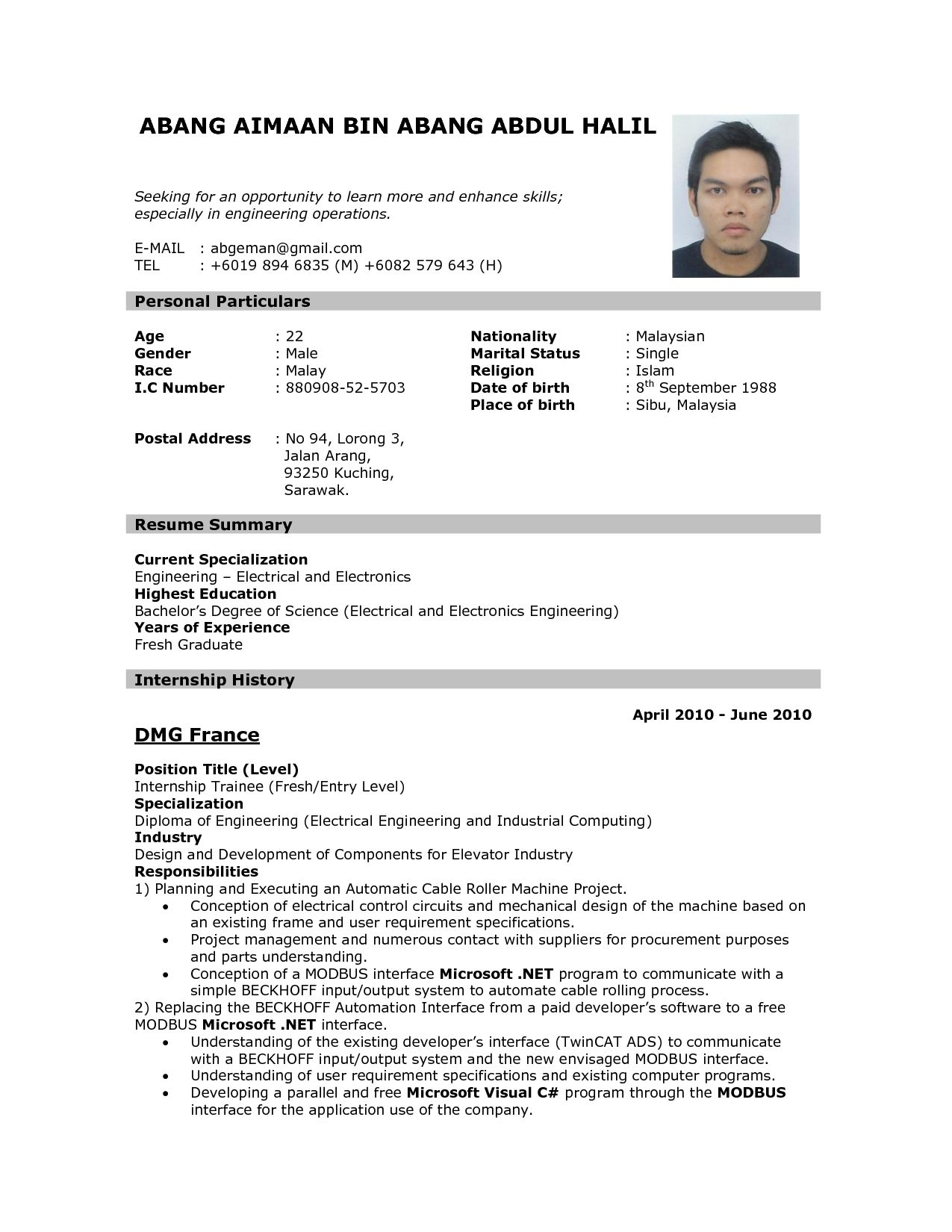 Application Letter Resume Format Of Resume For Job Application To Download Data