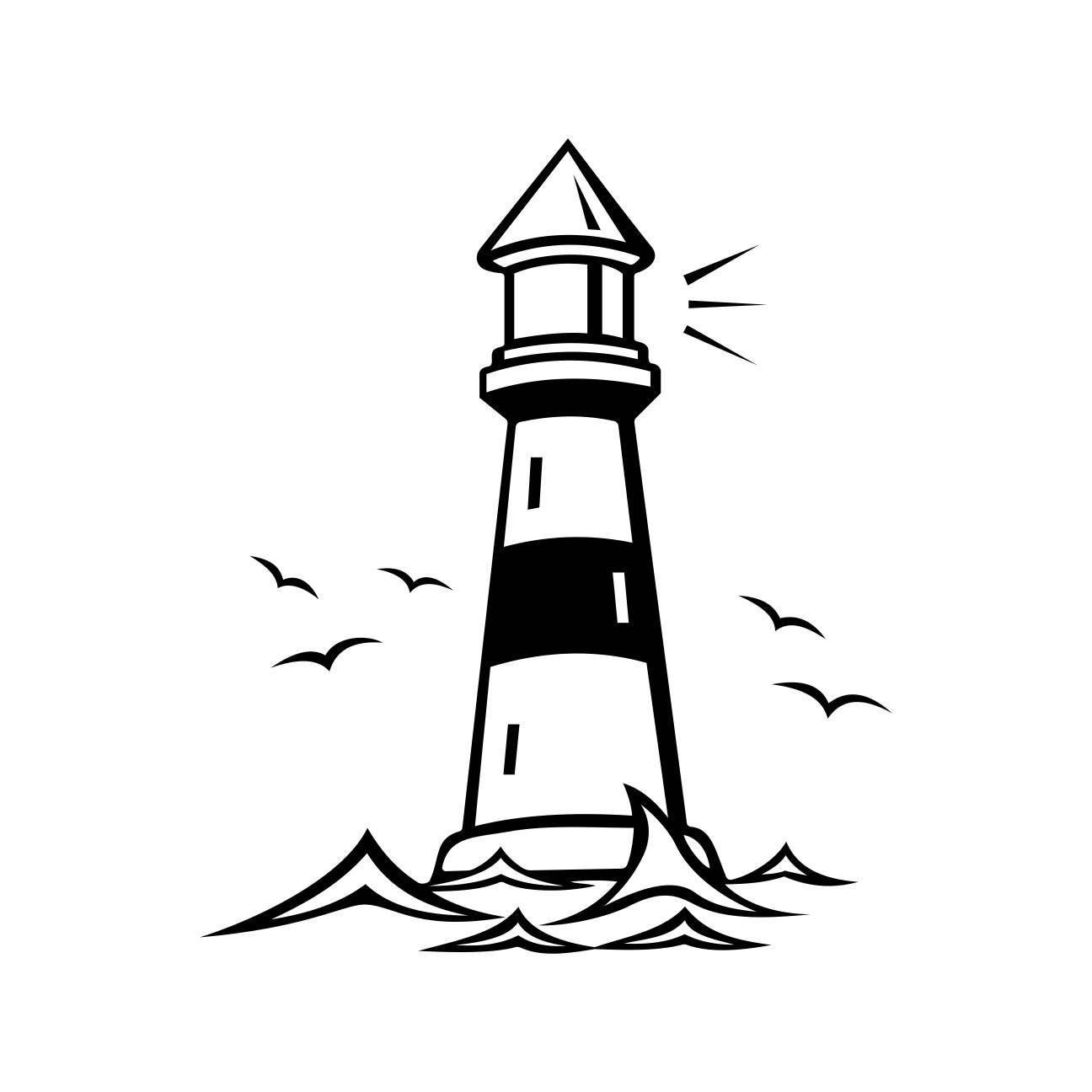 Lighthouse Beacon Birds Graphics Svg Dxf Eps Cdr Ai