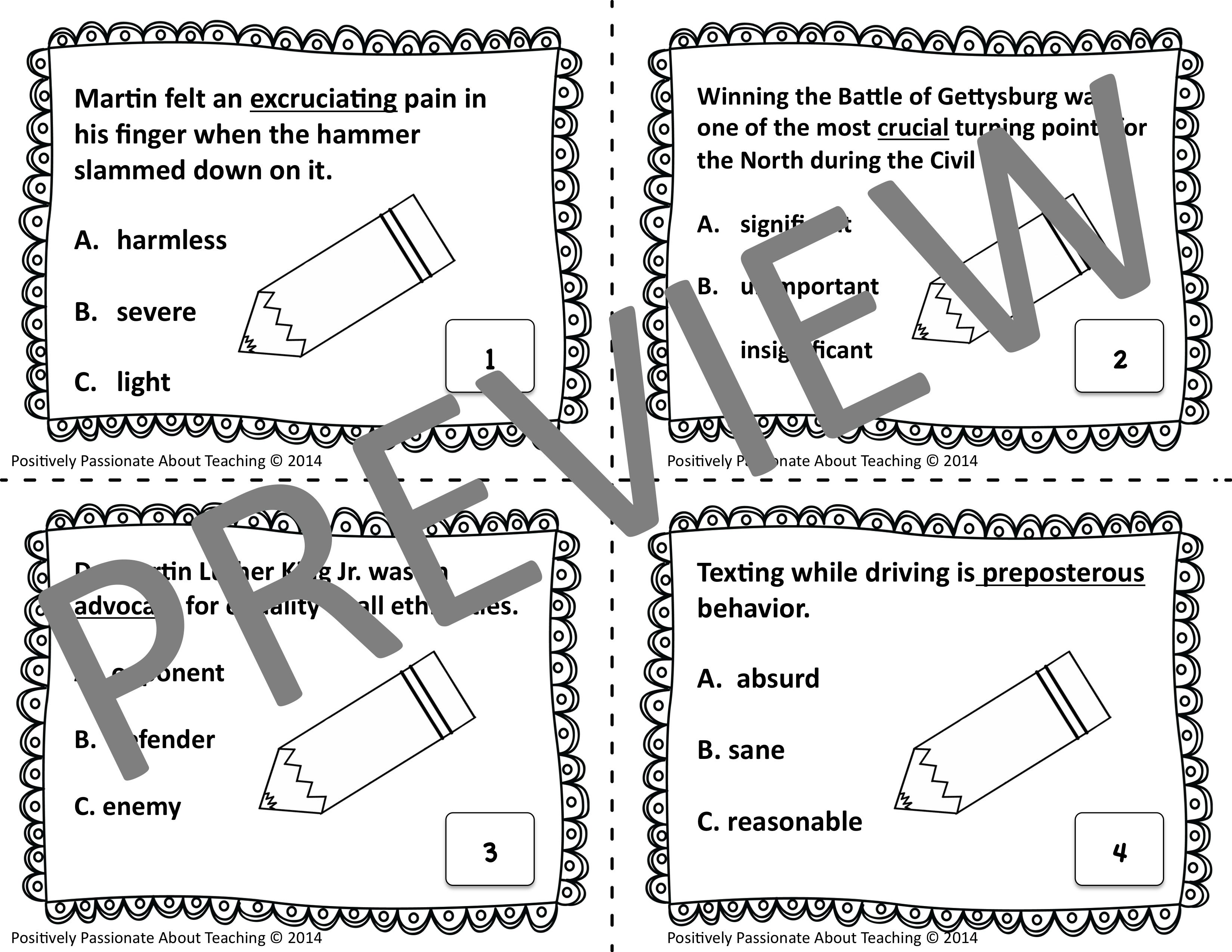 Context Clues Task Cards (Upper Level): Common Core and