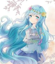 anime art girl beautiful blue hair