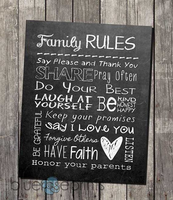 Faux Chalkboard Home Decor Family Rules Printable Subway Wall Art
