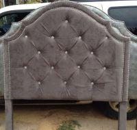 Tufted Headboard Gray Velvet King Queen Full by ...