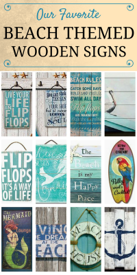 Check out our favorite beach themed wooden signs at ...
