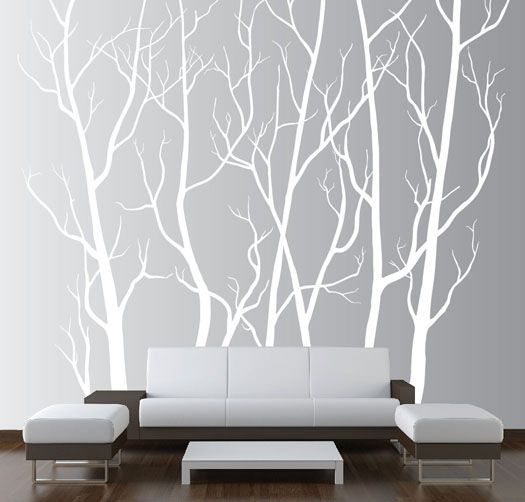 Large wall art decor vinyl tree forest decal sticker choose size and color walls also rh in pinterest