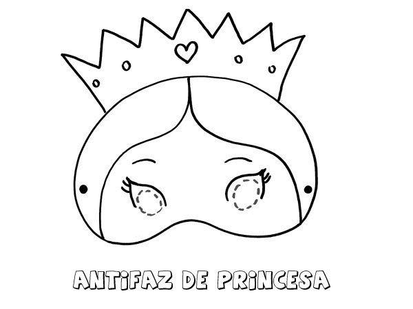 Antifaz de princesa. Dibujos para colorear con los niños