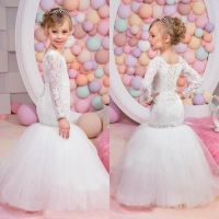 Sexy Mermaid Lace Flower Girls Dresses With Long Sleeves