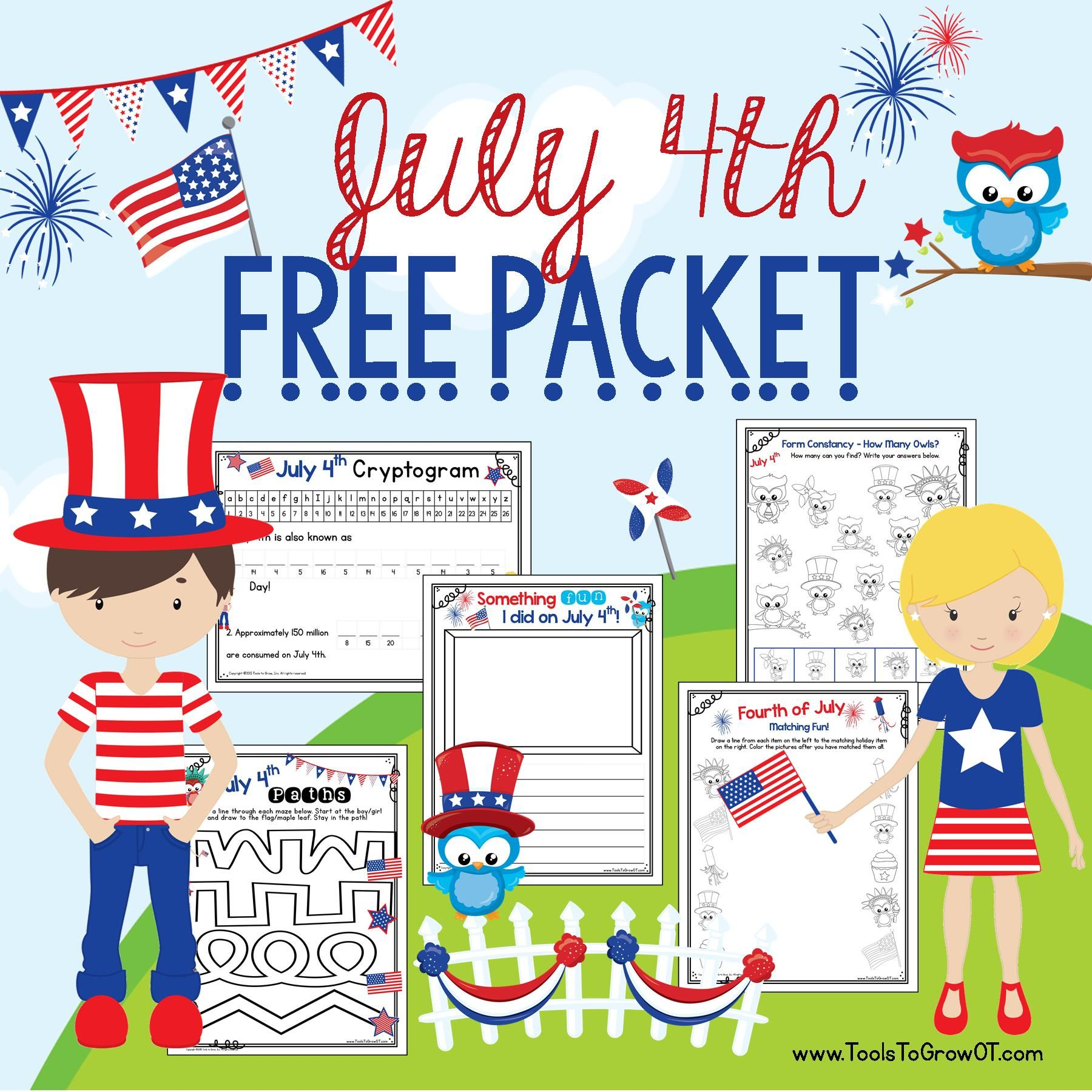 Free July 4th Packet Includes Fourth Of July Handwriting