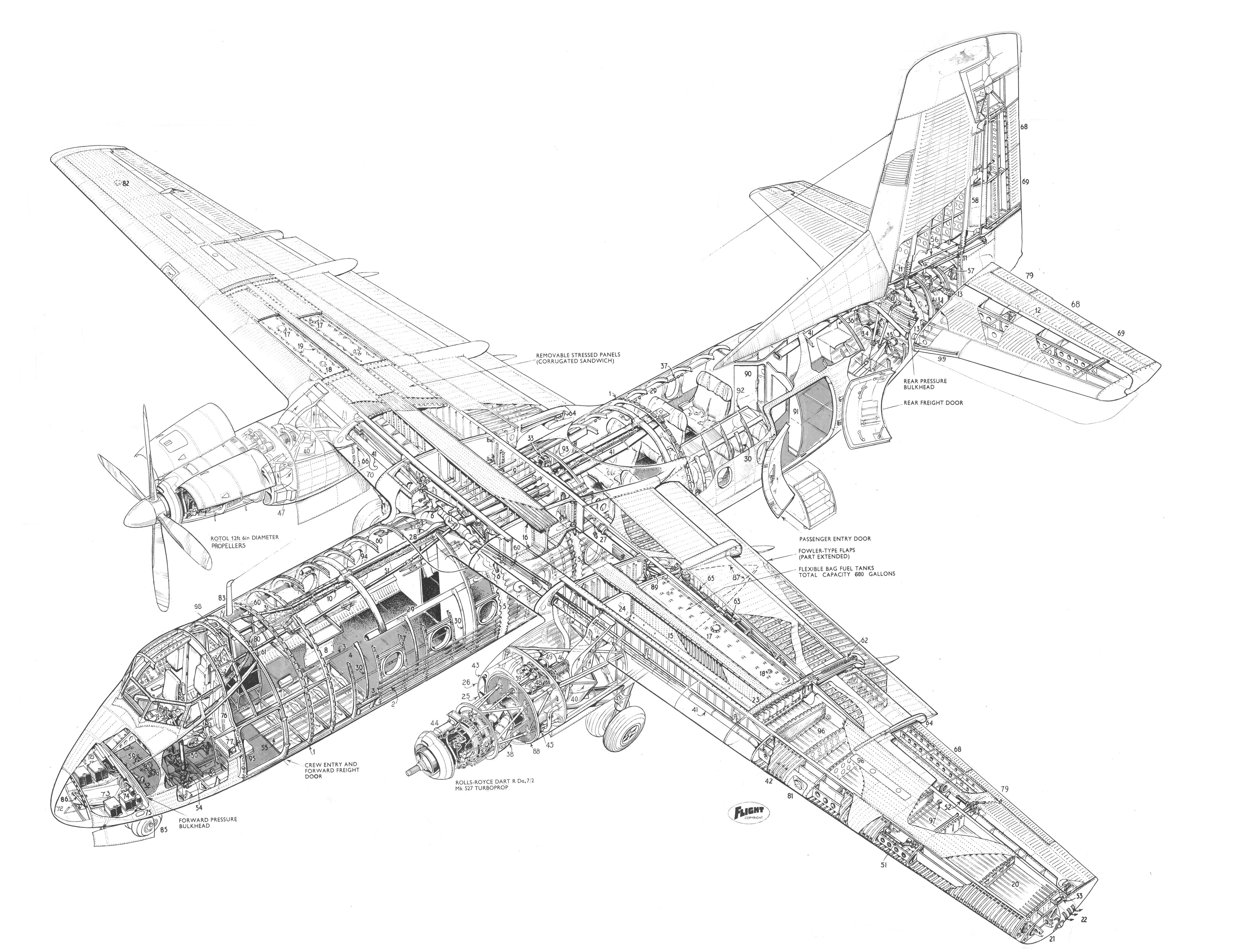 Handley Page Dart Herlad Cutaway Drawing