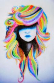 girl with rainbow hair drawing