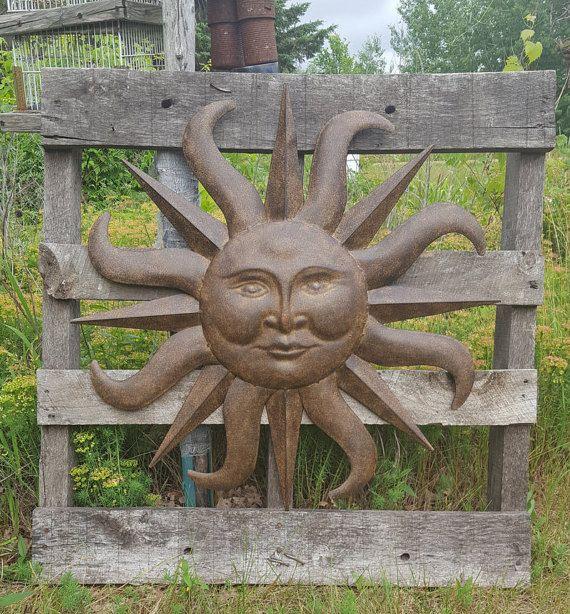 Metal garden decor sun wall art outdoor also rh pinterest