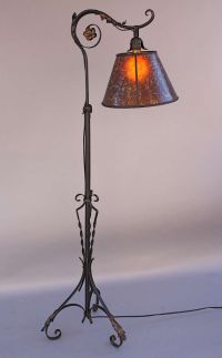 1920s Wrought Iron Bridge Lamp with Amber Mica Shade ...