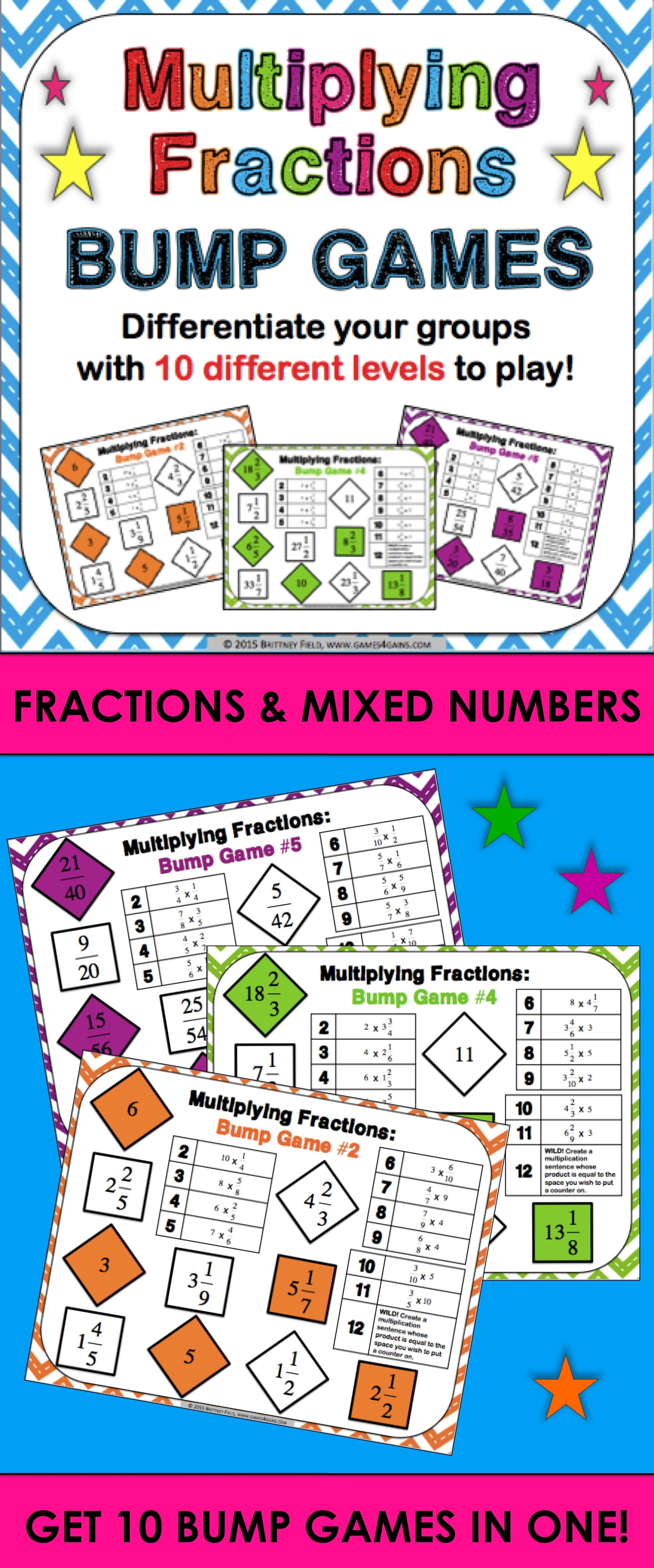 Multiplying Fractions Amp Multiplying Mixed Numbers Bump Games 4 4 5 4