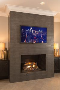 flat screen wall mount Spaces with contemporary fireplace ...