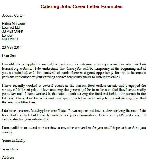 Sample Cover Letter Job Application chef  Job Application Letter Example Waiter Job