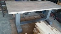 Raw farm table with 6x6 legs, white wash, dry brush, and ...