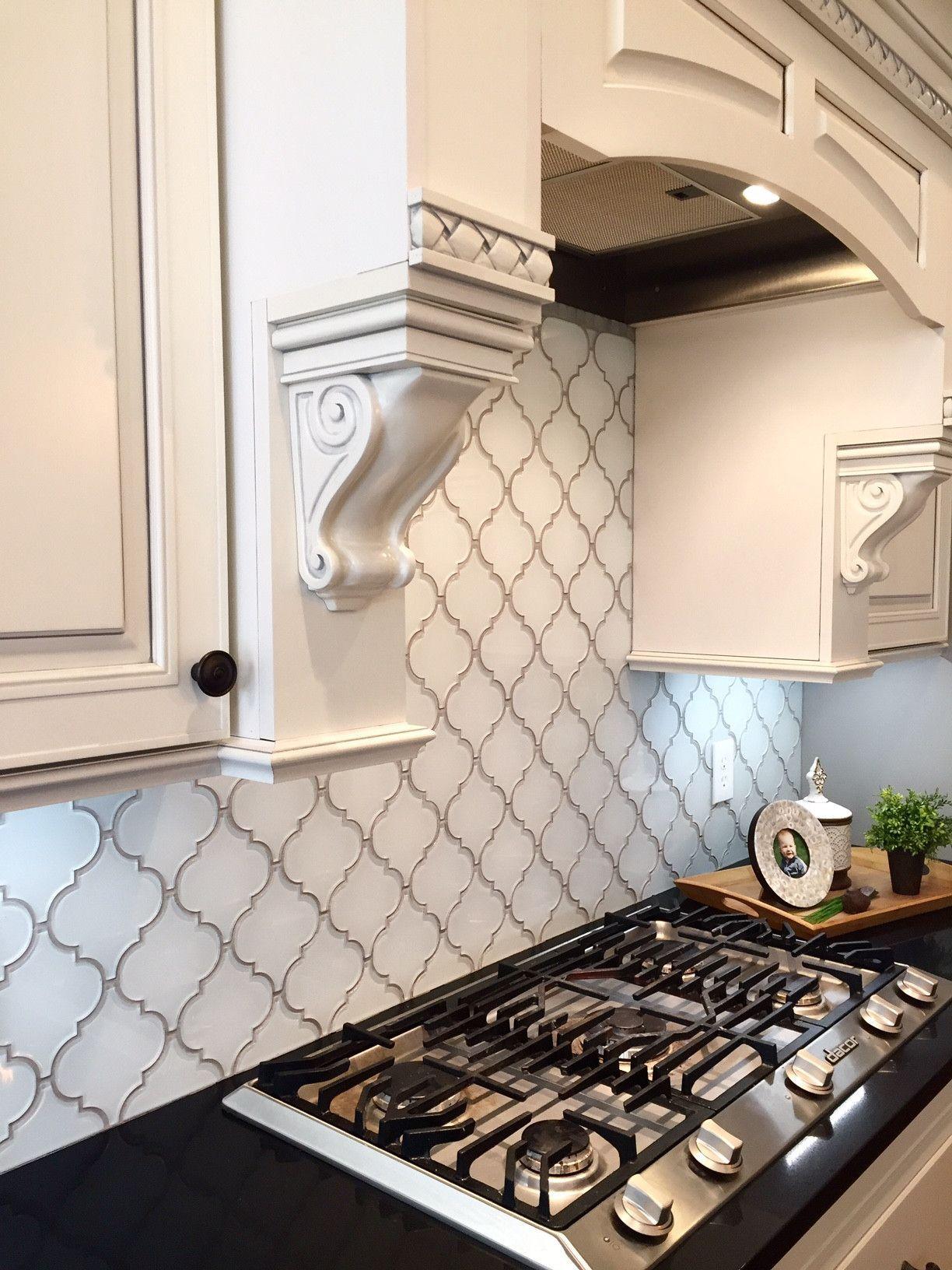 Snow White Arabesque Glass Mosaic Tiles  Kitchen